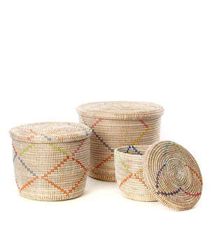 Set/3 Rainbow Garland Flat Lidded Storage Baskets