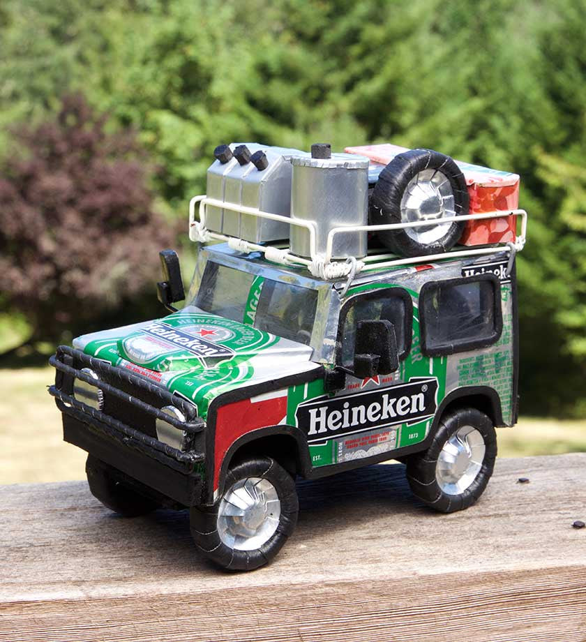 Recycled Beverage Can Land Rovers