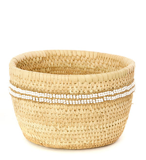 White Beaded Nomadic Camel Milking Baskets
