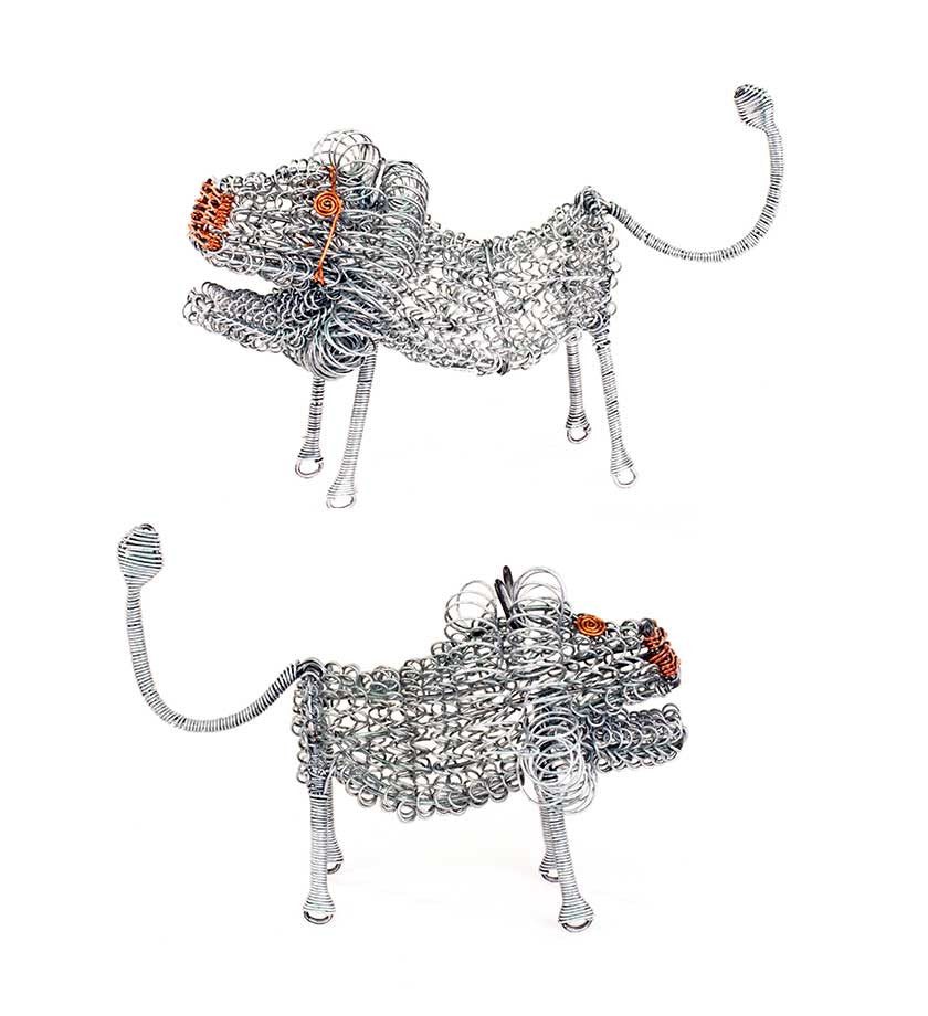Kenyan Wire Lion Sculptures - Recycled African Art - Swahili Modern