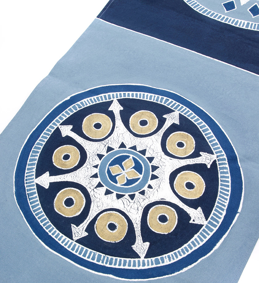 Hand Painted Light Blue & Cobalt African Circles Table Runner