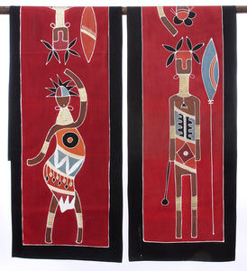 Zambian Warrior & Dancing Woman Table Runner in Red