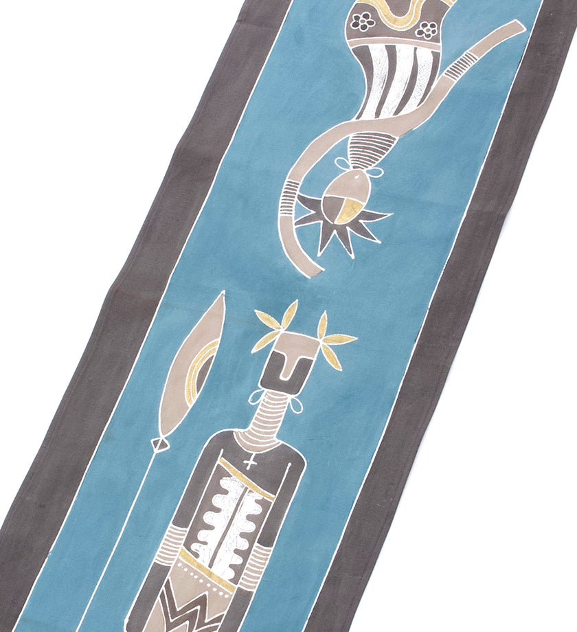 Zambian Warrior & Dancing Woman Table Runner in Sky