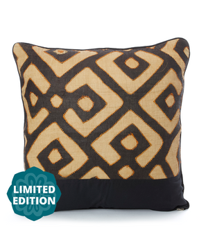 "24"" Limited Edition Cream Maze Raffia Pillow"