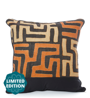 "24"" Limited Edition Orange & Cream Maze Raffia Pillow"