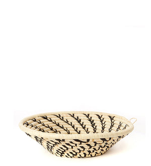 Cream Coiled Sata Baskets with Black Swirls