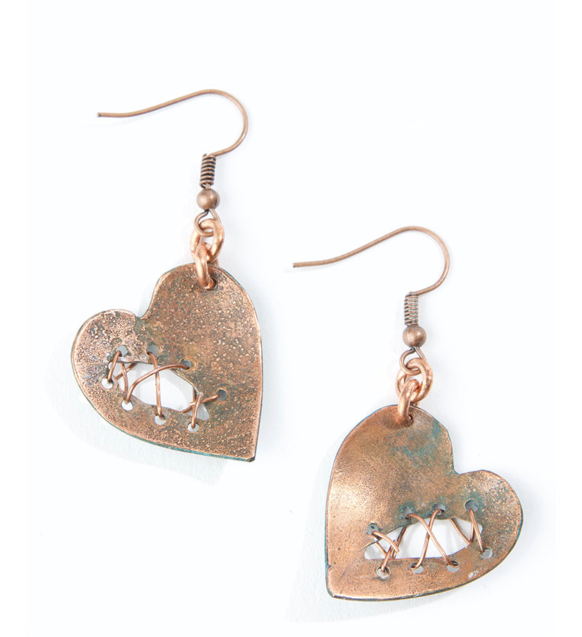 F.R.E.E. Woman Mended Heart Copper Patina Earrings