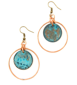 F.R.E.E. Woman Zambian Copper Viridian Disc Earrings