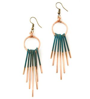 F.R.E.E. Woman Zambian Copper Viridian Fringe Earrings
