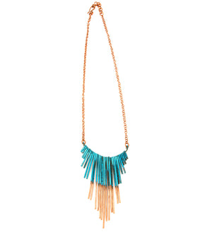 F.R.E.E. Woman Zambian Viridian Copper Fringe Necklace