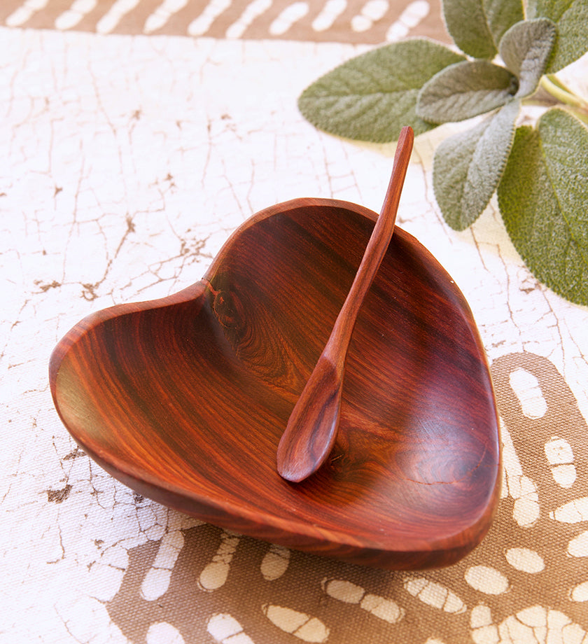Rustic Teak Heart Dish with Spoon