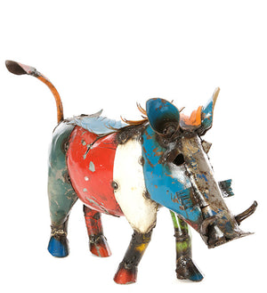 Recycled Oil Drum Colorful Warthog Sculptures