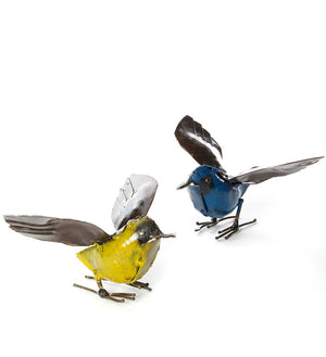 Pair of Colorful Fluttering Bird Sculptures