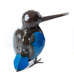 Blue Kingfisher Recycled Oil Drum Sculpture