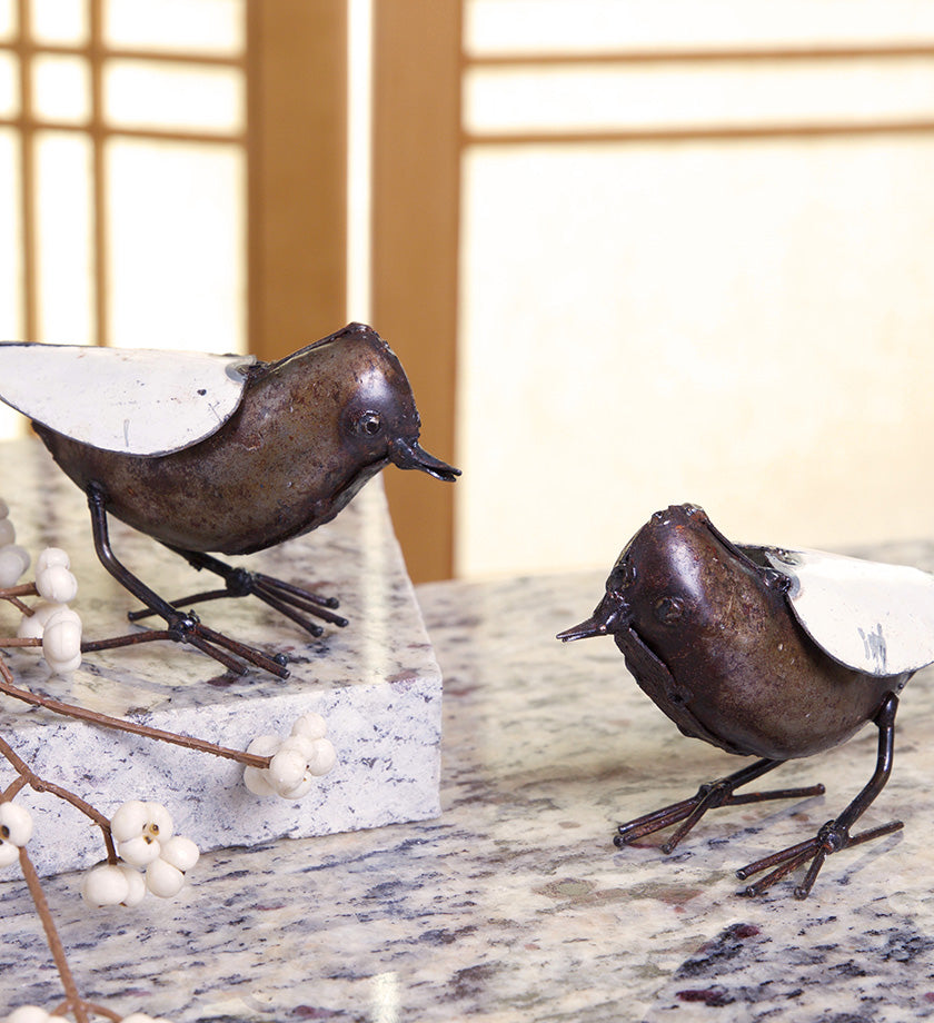 Set of Two Metal Songbird Sculptures