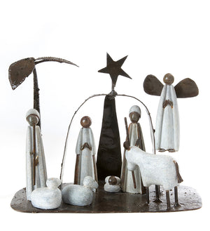 Serpentine Stone and Metal Archway Nativity Scene