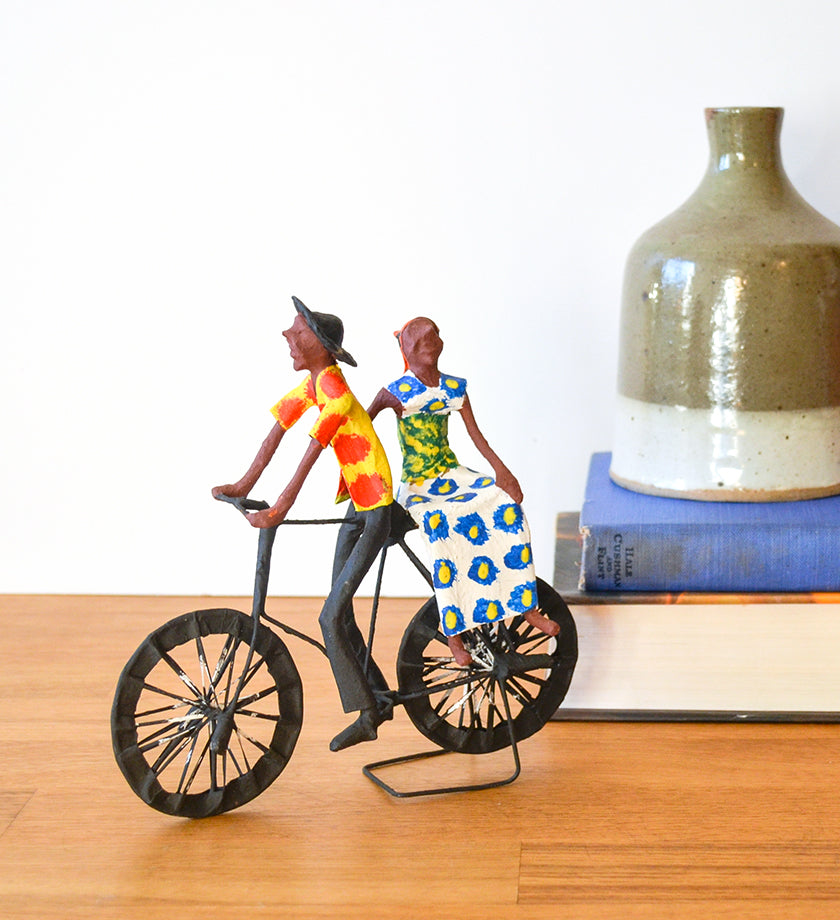 Zambian Family Bike Ride Papier-Mâché Sculpture