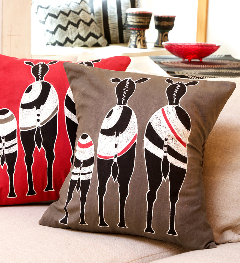 Zambian Hand Painted Gray Snooty Zebras Pillow