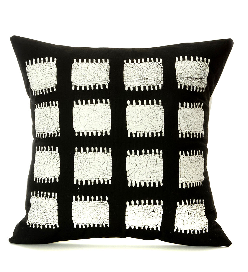 Hand Painted Zambian Tribal Grid Pillow