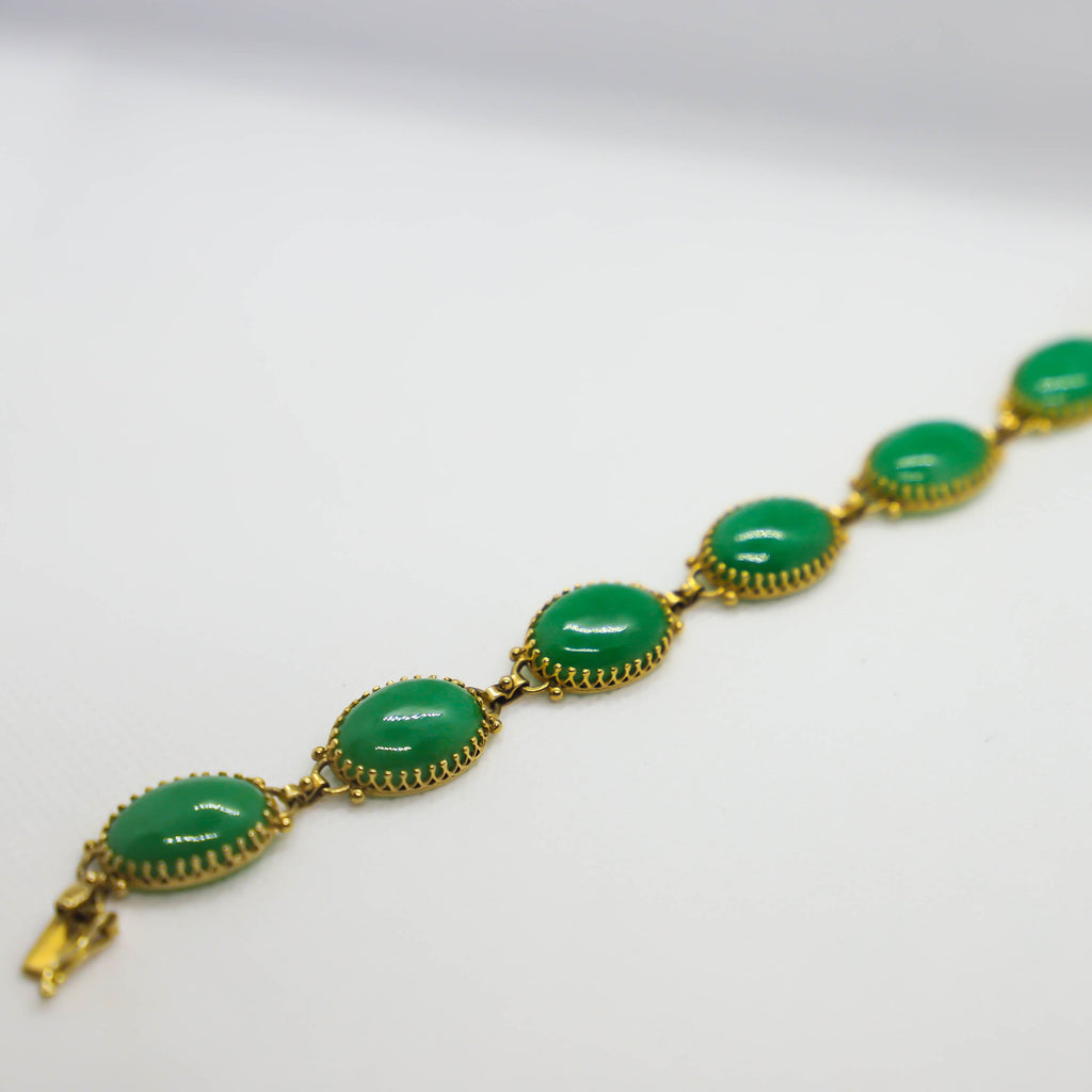 Yellow gold jadeite bracelet