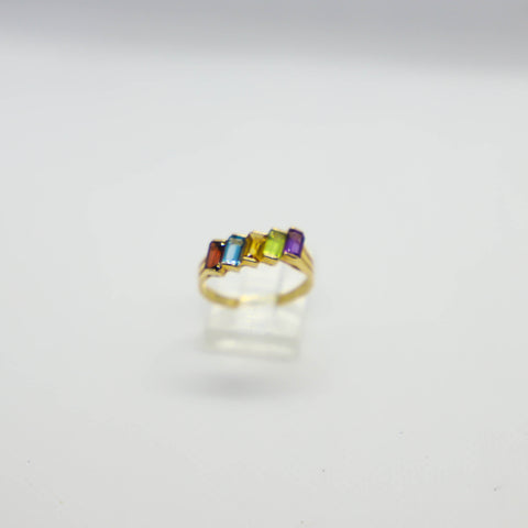 Yellow gold multi colored gemstone ring