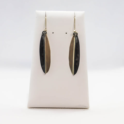Sterling silver two tone dangle earring