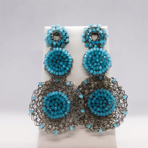 Hand crocheted circle drop earrings with light blue crystal accents