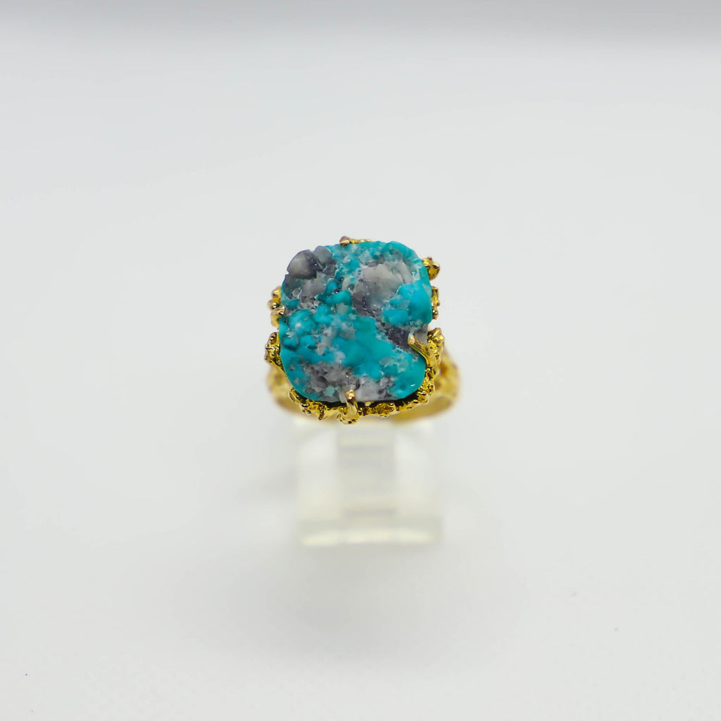 Yellow gold rough turquoise ring