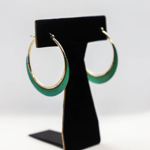Sterling silver aqua hoop earrings