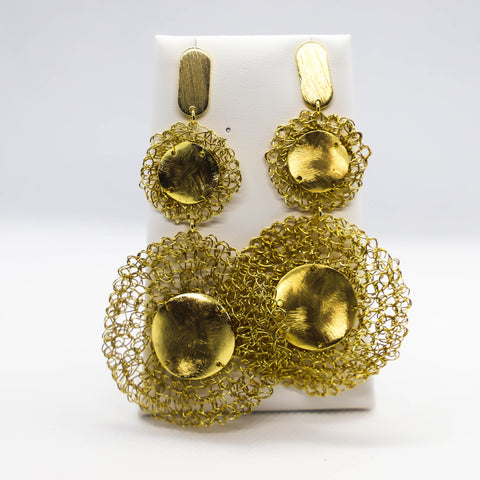 18kt gold plated crochet earrings