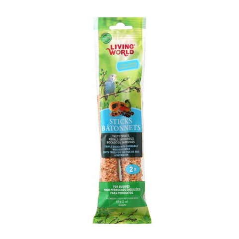 Hagen Living World Budgie Sticks - Fruit Flavour - 60 g (2 oz) - 2 pack - Exotic Wings and Pet Things
