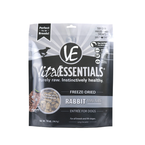 Vital Essentials Mini Nibs Freeze-Dried Grain Free Rabbit Dog Food 14 oz