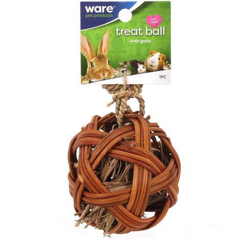 Ware Edible Treat Ball w/ Grass Natural Chew