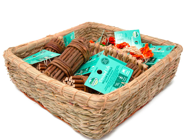 Oxbow Enriched Life Twisty Rings & Willow Bundle Basket - Exotic Wings and Pet Things