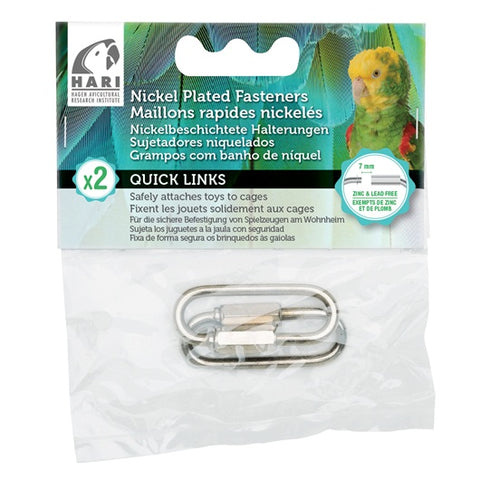 HARI Quick Links Nickel-Plated Fasteners - 2 pack - Medium - 7 mm - Exotic Wings and Pet Things