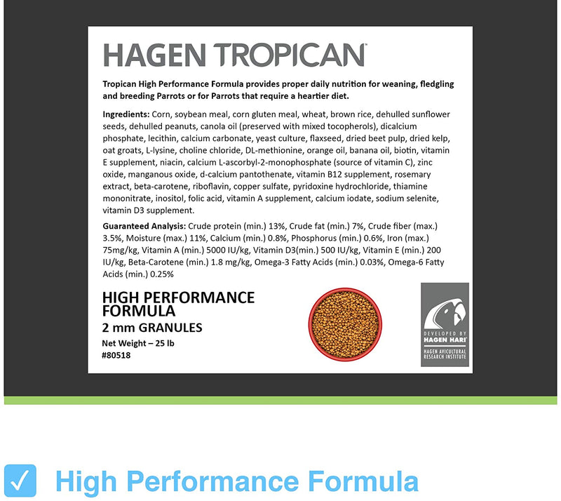 Tropican High Performance Granules for Cockatiel/Small Parrot 2mm Pellet