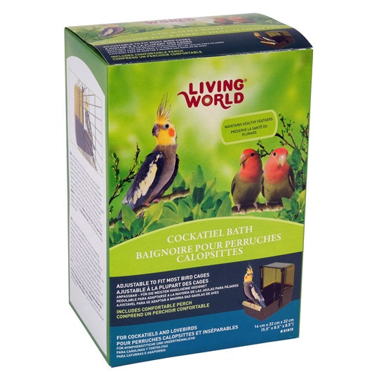 Living World Deluxe Cockatiel Caged Bird Bath - Exotic Wings and Pet Things