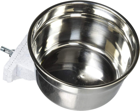 Lixit Stainless Steel Cage Crock Bowl With Bracket - Exotic Wings and Pet Things