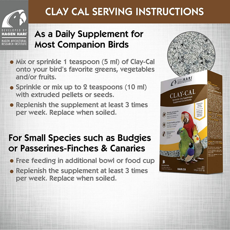 HARI Clay-Cal Bentonite Clay Supplement for Birds - 575g (1.27 lbs)