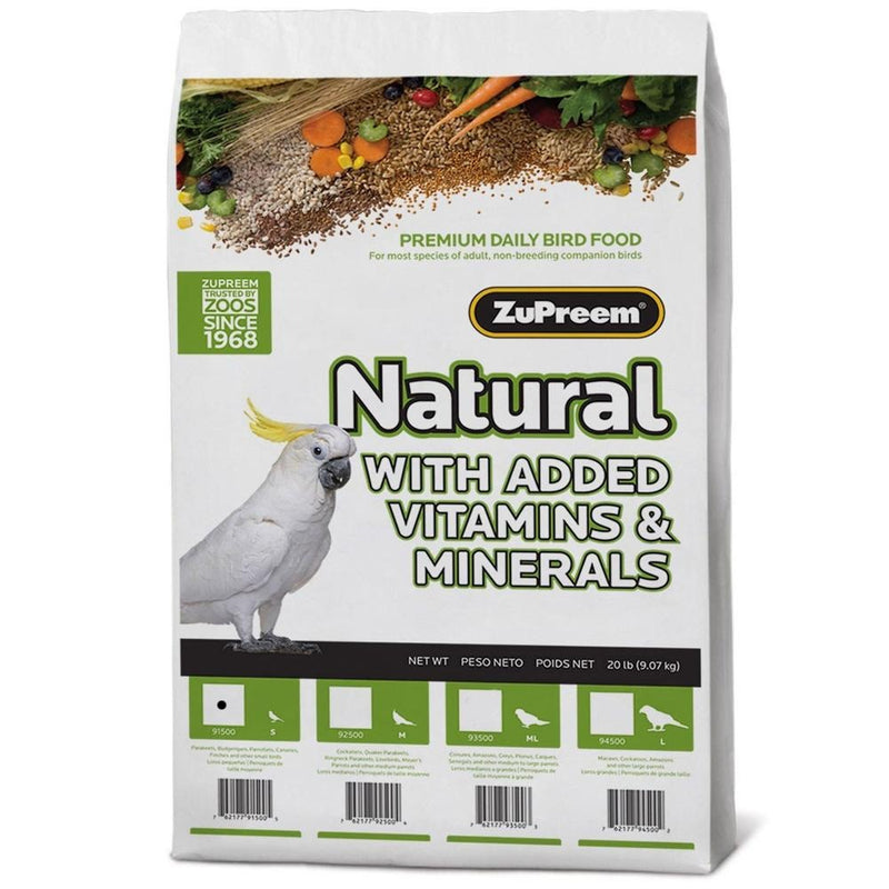 ZuPreem Natural Daily Nutrition Small Parakeet Budgie Parrotlet Barred Bird Pellet - Exotic Wings and Pet Things