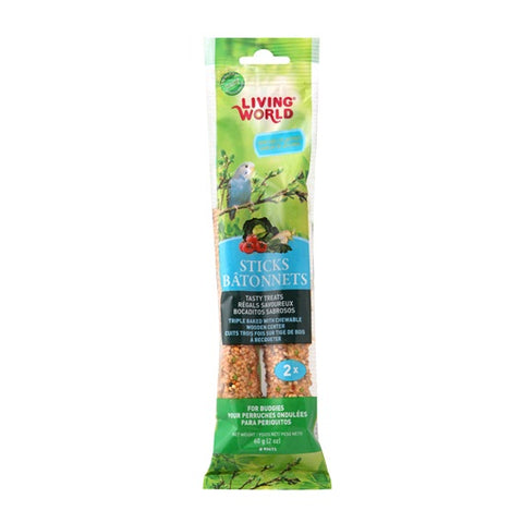 Hagen Living World Budgie Sticks - Vegetable Flavour - 60 g (2 oz) - 2 pack - Exotic Wings and Pet Things