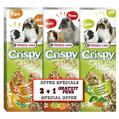Versele-Laga Crispy Herbivore Sticks 3 Pack Treat for Rabbits & Guinea Pigs