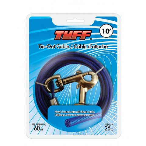 "TUFF Tie-Out Cable Small & Medium 10"" / 15"" / 20"" / 30"""