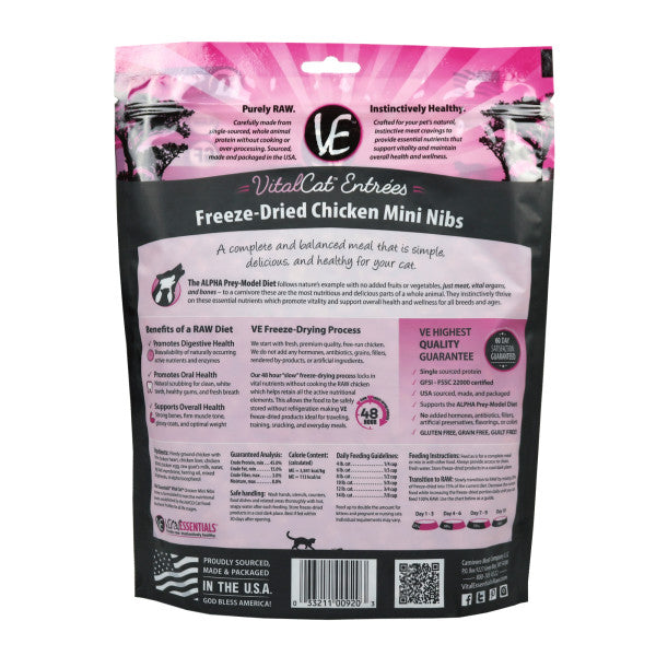 Vital Essentials CHICKEN MINI NIBS Freeze-Dried Cat Food 12oz