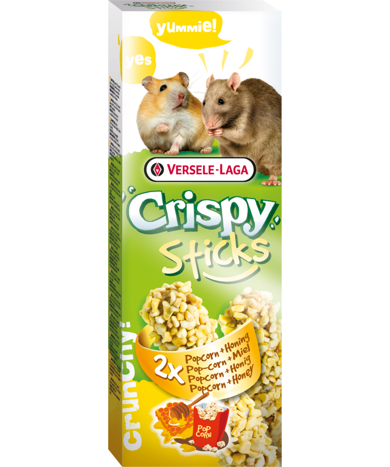 Versele-Laga Crispy Sticks Popcorn & Honey for Hamster/Rat 2 Pack - Exotic Wings and Pet Things