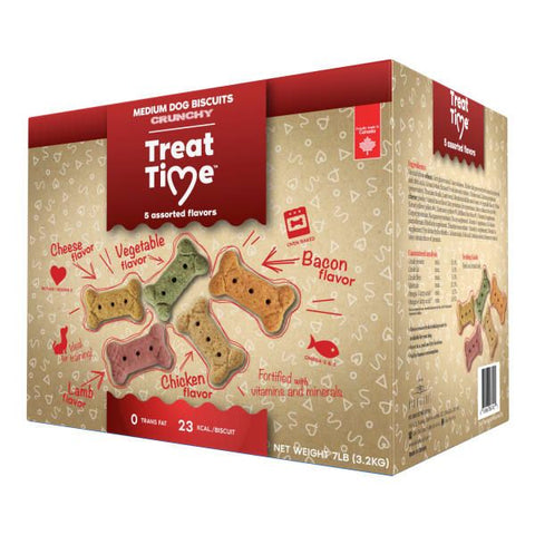 Oven Baked Traditions Treat Time Medium Dog Crunchy Biscuits 5 Flavours 7 lbs