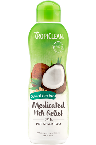 TropiClean Oatmeal & Tea Tree Medicated Dog Shampoo 20 oz - Exotic Wings and Pet Things