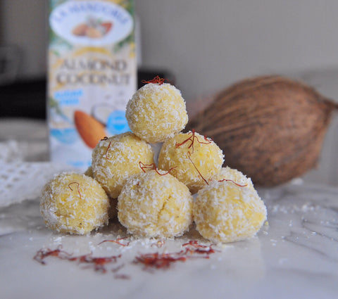 La Mandorle Almond Coconut Milk - Dairy-Free and Gluten Free Coconut Barfi Bliss Balls Recipe