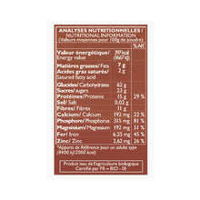 Load image into Gallery viewer, la mandorle instant almond chocolate powder nutrition table