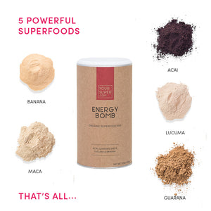 your superfoods energy bomb 200g organic ingredients including, acai, guarana, maca, lucuma and banana